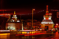 Stupas on Beijing Middle Road near the Potala Palace, Lhasa, Tibet, China.