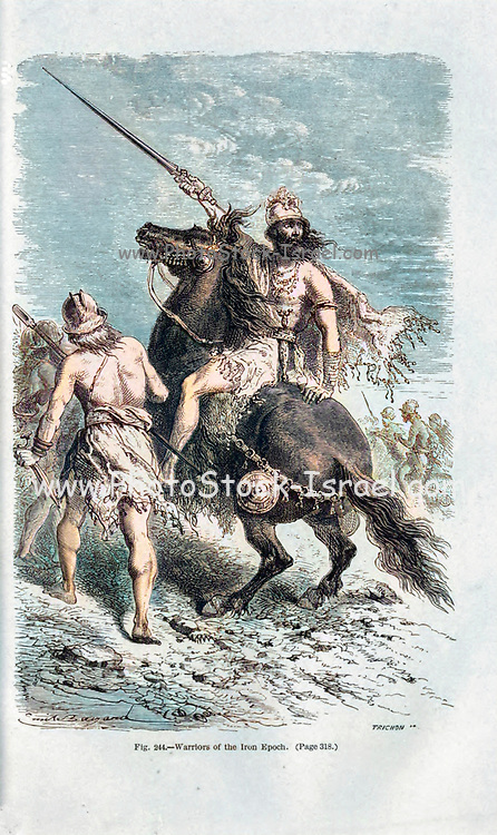 Machine colorized (AI) image Iron Age warriors, according to the French illustrator Emile Bayard (1837-1891), illustration Artwork published in Primitive Man by Louis Figuier (1819-1894), Published in London by Chapman and Hall 193 Piccadilly in 1870