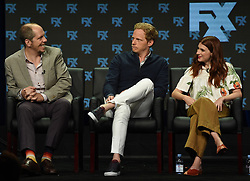 BEVERLY HILLS - AUGUST 9: Executive Producer Stephen Falk and cast members Chris Geere and Aya Cash onstage during the panel for 'You're the Worst' at the FX portion of the 2017 Summer TCA press tour at the Beverly Hilton on August 9, 2017 in Beverly Hills, California. (Photo by Frank Micelotta/FX/PictureGroup) *** Please Use Credit from Credit Field ***