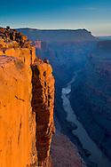 Golden sunrise light on steep sheer rock cliff above the Colorado River, Toroweap, Grand Canyon National Park, Arizona
