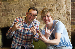 © Licensed to London News Pictures. 19/04/2012. London, UK. Former member of pop-rock bands Busted and Son of Dork James Bourne and writer and composer Elliot Davis introduce the cast of their original Britsih musical LOSERVILLE. Premiering at the West Yorkshire Playhouse, Leeds. Picture shows: Writers Elliot Davis and James Bourne. Photo credit : Tony Nandi/LNP