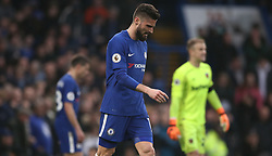 Chelsea's Olivier Giroud (centre) looks dejected during the Premier League match at Stamford Bridge, London.