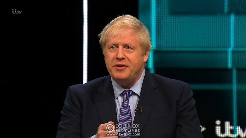 Broadcast TV, United Kingdom - 19 November 2019<br /> Labour leader Jeremy Corbyn and Prime Minister Boris Johnson debate live on ITV tonight as part of the 2019 general election campaign.<br /> (supplied by: Supplied by: EQUINOXFEATURES.COM)<br /> Picture Data:<br /> Contact: Equinox Features<br /> Date Taken: 20191119<br /> Time Taken: 211734<br /> www.newspics.com