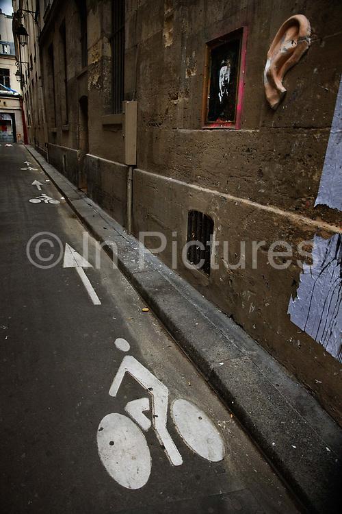 Bike lane near the Marais, Paris,