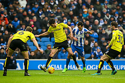 Sam Baldock of Brighton & Hove Albion is tackled by Tom Flanagan of Burton Albion - Mandatory by-line: Jason Brown/JMP - 11/02/2017 - FOOTBALL - Amex Stadium - Brighton, England - Brighton and Hove Albion v Burton Albion - Sky Bet Championship