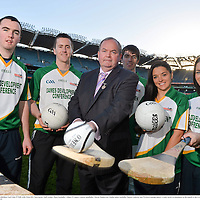 28 November 2012; Uachtarán Chumann Lúthchleas Gael Liam Ó Néill, with, from left, Clare hurler Niall Arthur, Mayo footballer Cillian O'Connor, Galway handballer Martin Mulkerrins, Dublin ladies footballer Sineád Goldrick, and Wexford camogie player Ursula Jacob, in attendance at the launch of the GAA Annual Games Development Conference. Croke Park, Dublin. Picture credit: Brian Lawless / SPORTSFILE