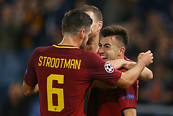 October 31, 2017 - Rome, Italy - Stephan El Shaarawy of Roma celebrating with Kevin Strootman during the UEFA Champions League group C match between AS Roma and Chelsea FC at Stadio Olimpico on October 31, 2017 in Rome, Italy. (Credit Image: © Matteo Ciambelli/NurPhoto via ZUMA Press)