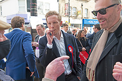 © Licensed to London News Pictures 01/05/2021. Sidcup, UK. Laurence Fox on the mayoral campaign trail. London mayoral candidate and Reclaim Party leader Laurence Fox visiting Sidcup in South East London today with Reform UK Party leader Richard Tice. Photo credit:Grant Falvey/LNP