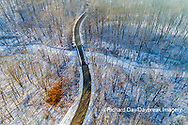 63877-01306 Aerial view of forest and road after snowfall in winter Stephen A. Forbes St. Park Marion Co. IL