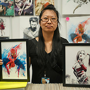 Business Design Centre, England, UK. 23rd August 2017. Artist Qing Qi stall at the London Super Comic Convention 2017.