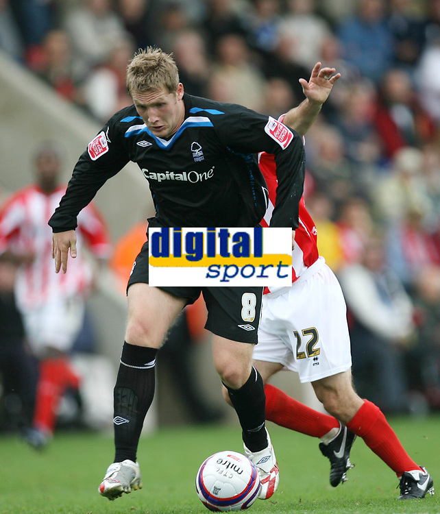 Photo: Rich Eaton.<br /> <br /> Cheltenham Town v Nottingham Forest. Coca Cola League 1. 13/10/2007. Forest's Kris Commons lines up a shot to score late in the first half to make it 2-0 and celebrates.