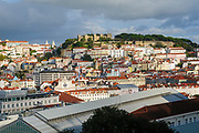 View from the Miradouro de Sao Pedro de Alcantara in the Bairro Alto, Lisbon, Portugal