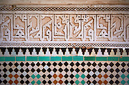 Berber Arabesque Morcabe plasterwok Zellige tiles of the Marrakesh museum in the Dar Menebhi Palace, Marrakesh, Morocco .<br /> <br /> Visit our MOROCCO HISTORIC PLAXES PHOTO COLLECTIONS for more   photos  to download or buy as prints https://funkystock.photoshelter.com/gallery-collection/Morocco-Pictures-Photos-and-Images/C0000ds6t1_cvhPo<br /> .<br /> <br /> Visit our ISLAMIC HISTORICAL PLACES PHOTO COLLECTIONS for more photos to download or buy as wall art prints https://funkystock.photoshelter.com/gallery-collection/Islam-Islamic-Historic-Places-Architecture-Pictures-Images-of/C0000n7SGOHt9XWI