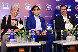 December 18, 2018 - Jaipur, Rajasthan, India - COA Member Diana Edulji (L), Mumbai Indians owner Akash Ambani (C) and CEO Kolkata Knight Riders (KKR) Venky Mysore (R) speaks at a press conference for the Indian Premier League 2019 auction in Jaipur on December 18, 2018, as teams prepare their player rosters ahead of the upcoming Twenty20 cricket tournament next year. The 2019 edition of the IPL -- one of the world's most-watched sporting events attracting the world's top stars -- is set to take place in April and May next year.(Photo By Vishal Bhatnagar/NurPhoto) (Credit Image: © Vishal Bhatnagar/NurPhoto via ZUMA Press)