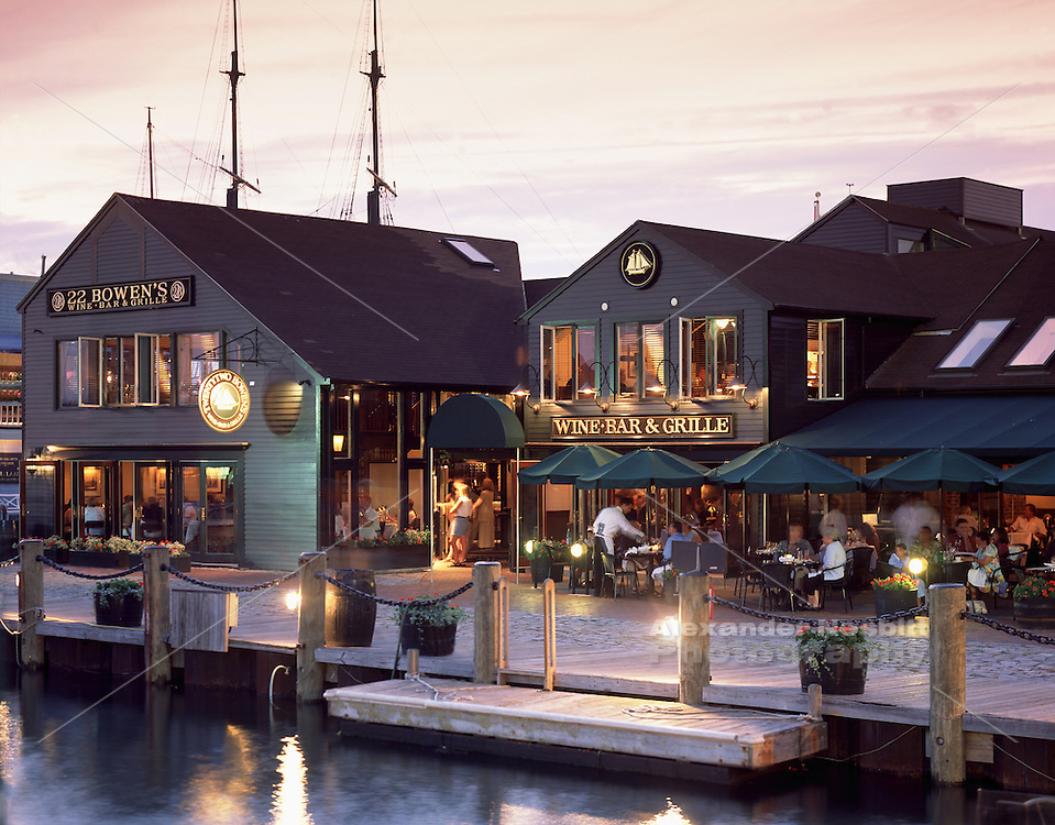 USA, Newport, RI - 22 Bowen's wine bar and grille restaurant on Bowen's wharf - exterior shot.