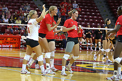 28 AUG 2009: Redbirds (clockwise from libero) Kasey Mollerus, Mallory Leggett, Laura Wakefield, Kristin Stauter, and Hailey Kelley celebrate the point that was match-set.  The Redbirds of Illinois State defeated the Runnin' Bulldogs of Gardner-Webb in 3 sets during play in the Redbird Classic on Doug Collins Court inside Redbird Arena in Normal Illinois