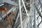 Looking downwards in landside Departures area newly-opened London Heathrow Airport's Terminal 5 building.