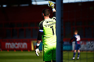 Richard O'Donnell of Bradford Cityprior to letting in the goal by Luke Norris of Stevenage FC during the EFL Sky Bet League 2 match between Stevenage and Bradford City at the Lamex Stadium, Stevenage, England on 5 April 2021.