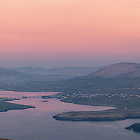 Portmagee Village Panorama at pink Sunset, County Kerry, Ireland / pm007