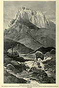 Jebel Musa (Moses) from the South Wood engraving of from 'Picturesque Palestine, Sinai and Egypt' by Wilson, Charles William, Sir, 1836-1905; Lane-Poole, Stanley, 1854-1931 Volume 4. Published in 1884 by J. S. Virtue and Co, London
