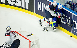 Seth Jones of USA vs Miha Verlic of Slovenia during Ice Hockey match between Slovenia and USA at Day 10 in Group B of 2015 IIHF World Championship, on May 10, 2015 in CEZ Arena, Ostrava, Czech Republic. Photo by Vid Ponikvar / Sportida