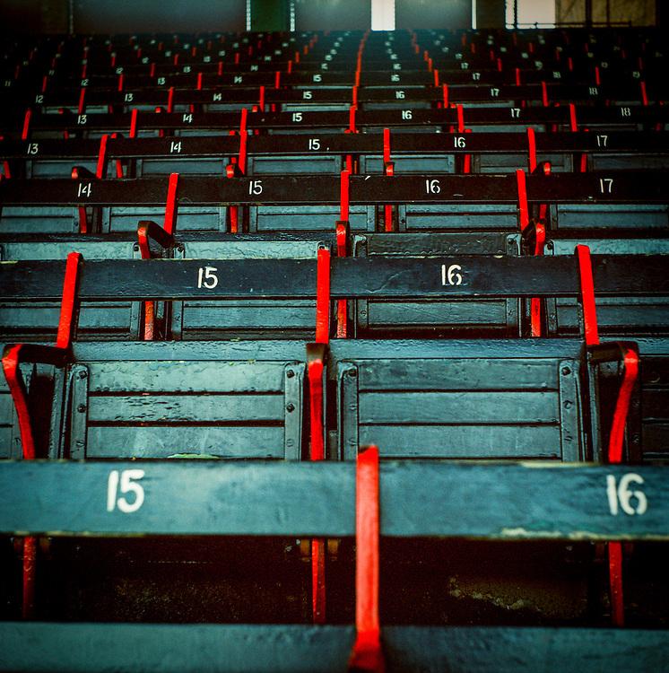 Empty seats awaiting fans at Boston's Fenway Park.