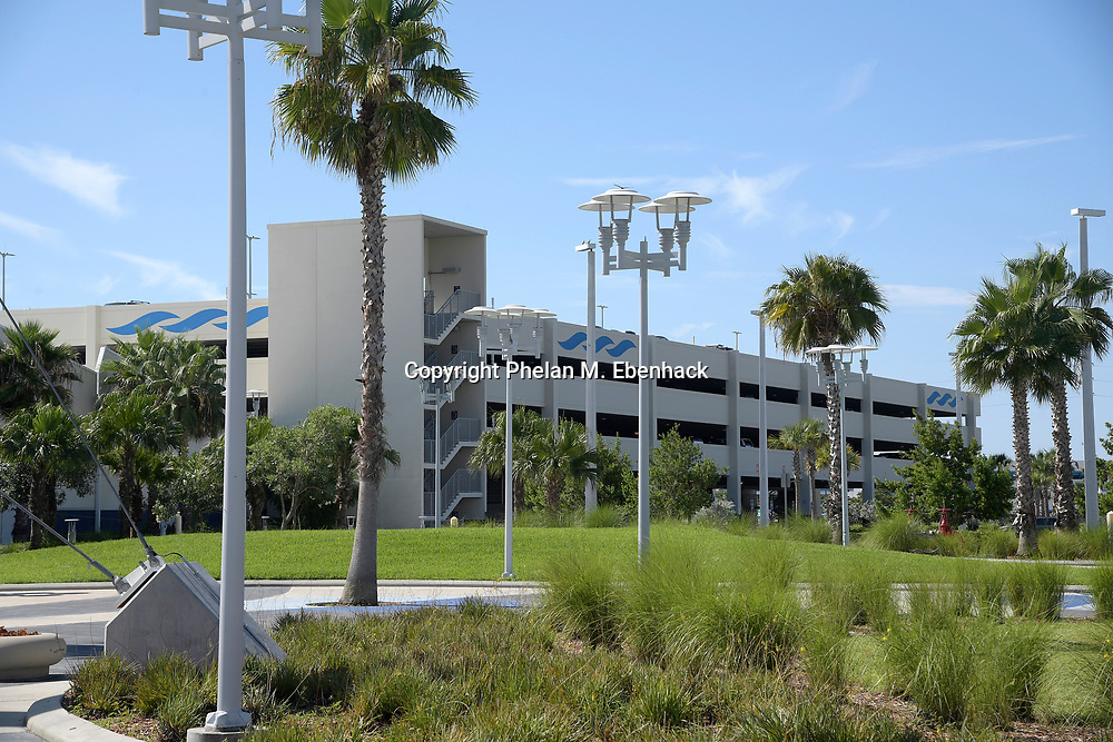 The parking garage for the Terminal 1 cruise ship terminal is viewed on Wednesday, July 19, 2017, in Port Canaveral, Fla. (Photo by Phelan M. Ebenhack)
