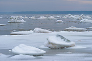 Various formations of snow and ice covered stones on rocky shore after cold spell in winter with freshly frozen pancake ice in between, Kaltene Seacoast, Kurzeme, Latvia Ⓒ Davis Ulands | davisulands.com