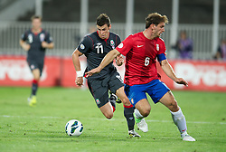11.09.2012, Karadorde Stadion, Novi Sad, SRB, FIFA WM Qualifikation, Serbien vs Wales, im Bild Wales' Gareth Bale in action against Serbia's captain Branislav Ivanovic during FIFA World Cup Qualifier Match between Serbia and Wales at the Karadorde Stadium, Novi Sad, Serbia on 2012/09/11. EXPA Pictures © 2012, PhotoCredit: EXPA/ Propagandaphoto/ David Rawcliff..***** ATTENTION - OUT OF ENG, GBR, UK *****