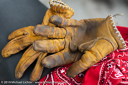 Danita Gayle's Moto Stuka gloves on Motorcycle Sherpa's Ride to the Heavens motorcycle adventure in the Himalayas of Nepal. On the fifth day of riding, we went from Muktinath to Tatopani. Friday, November 8, 2019. Photography ©2019 Michael Lichter.