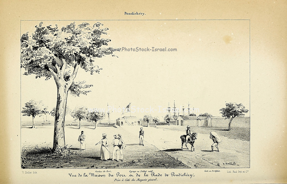 Pondicherry (here as Pondichery) governor's Palace from Souvenirs d'un voyage dans l'Inde exécuté de 1834 à 1839 (A voyage to India) by Delessert, Adolphe, published in Paris in 1843