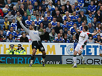 Photo: Steve Bond/Richard Lane Photography. Leicester City v Carlisle United. Coca Cola League One. 04/04/2009.  Michael Bridges (L) chips keeper Tony Warner to score