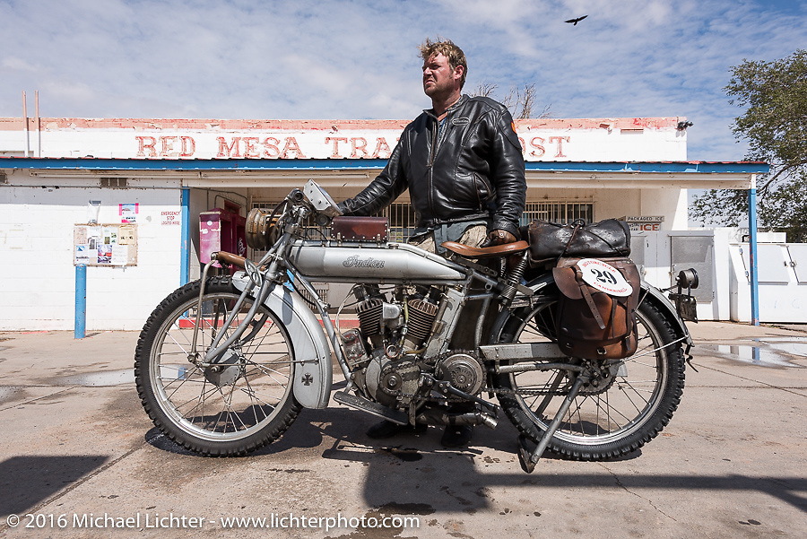 Ryan Allen of NM takes a break from riding his 1916 Indian at the Mesa Trading Post in Arizona during the Motorcycle Cannonball Race of the Century. Stage-11 ride from Durango, CO to Page, AZ. USA. Wednesday September 21, 2016. Photography ©2016 Michael Lichter.