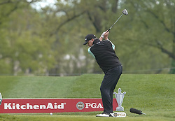 May 24, 2019 - Benton Harbor, NY, U.S. - ROCHESTER, NY - MAY 24: Paul Lawrie hits his tee shot on the 18th hole during the second round of the KitchenAid Senior PGA Championship at Oak Hill Country Club on May 24, 2019 in Rochester, New York. (Photo by Jerome Davis/Icon Sportswire) (Credit Image: © Jerome Davis/Icon SMI via ZUMA Press)