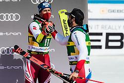 Meillard Loic (SUI) with Brennsteiner Stefan (AUT) during trophy ceremony at the Audi FIS Alpine Ski World Cup Men's Giant Slalom at 60th Vitranc Cup 2021 on March 13, 2021 in Podkoren, Kranjska Gora, Slovenia Photo by Grega Valancic / Sportida