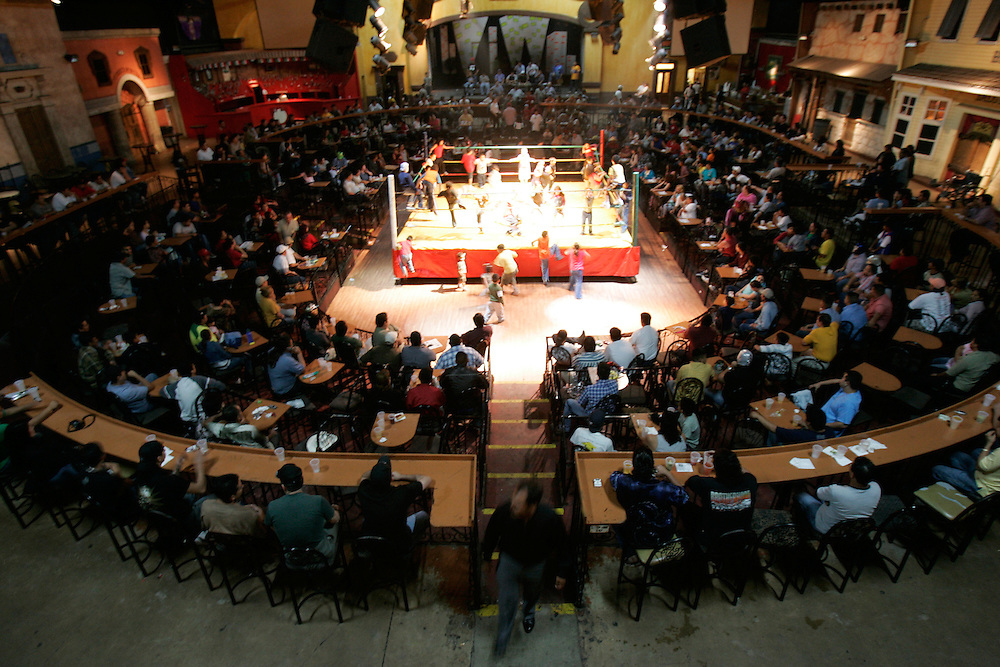 A large crowd fills the Tejano Saloon in Pharr during a recent Lucha Libre match.