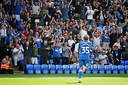 Peterborough United forward Jason Cummings (35) celebrates his second goal during the EFL Sky Bet League 1 match between Peterborough United and Luton Town at London Road, Peterborough, England on 18 August 2018.