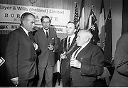 17/08/1967<br /> 08/17/1967<br /> 17 August 1967<br /> Player and Wills (Ireland) Ltd. give development grant to Cork Film Festival at Player and Wills headquarters, South Circular Road, Dublin. Picture shows Mr. Frank O'Reilly, (2nd from left), Chairman, chatting with from left;Mr. Dermot Breen, Director, Cork Film Festival, Alderman Pearse Wyse T.D., Lord Mayor of Cork and Mr. A.A. Healy T.D., Chairman, Cork Film Festival.