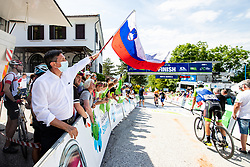 Borut Pahor, president of Slovenia, in the finish during the 4th Stage of 27th Tour of Slovenia 2021 cycling race between Ajdovscina and Nova Gorica (164,1 km), on June 12, 2021 in Slovenia. Photo by Matic Klansek Velej / Sportida