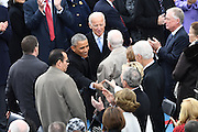 President Barack Obama greets former President George W. Bush as he arrive for the 68th President Inaugural Ceremony on Capitol Hill January 20, 2017 in Washington, DC. Donald Trump became the 45th President of the United States in the ceremony.