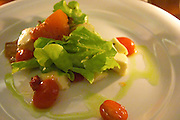 A salad of small cocktail tomatoes, lettuce and cheese with olive oil. The Dolly Irigoyen - famous chef and TV presenter - private restaurant, Buenos Aires Argentina, South America Espacio Dolli