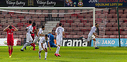 WREXHAM, WALES - Thursday, September 17, 2020: FC Dinamo Tbilisi's Giorgi Gabedava celebrates after scoring an injury time penalty to seal a 1-0 victory during the UEFA Europa League Second Qualifying Round match between Connah's Quay Nomads FC and FC Dinamo Tbilisi at the Racecourse Ground. Dinamo Tiblisi won 1-0. (Pic by David Rawcliffe/Propaganda)