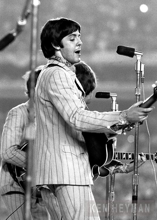 Paul McCartney in the Beatles' last concert at Shea Stadium.