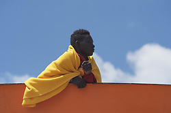 May 26, 2017 - Salerno, Salerno, Italy - Europe, Italy, Salerno, May 26, 2017. With the arrival of the beautiful season are thousands of migrants leaving Libyan coasts to arrive in Italy..The ships of NGOs in the Mediterranean save thousands of lives..The Aquarius ship arrives in the port of Salerno with its load of about 1400 migrants. On board 170 minors and 21 pregnant women. (Credit Image: © Danilo Balducci via ZUMA Wire)