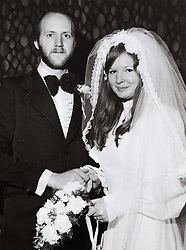 John and Hilary on their wedding day 2 February 1974<br /> John and Hilary Bond who met in Majorca at Club 18-30 in May 1973 where John was a Rep and Hilary a guest. This year the couple have just celebrated their 44th wedding anniversary. Watford, Herts, May 29 2018.