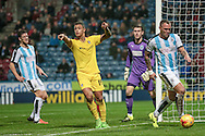 Jonson Clarke-Harris (Rotherham United) claims for a corner during the Sky Bet Championship match between Huddersfield Town and Rotherham United at the John Smiths Stadium, Huddersfield, England on 15 December 2015. Photo by Mark P Doherty.