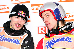 Adam Malysz and Gregor Schlierenzauer at press conference after Flying Hill Individual in 2nd day of 32nd World Cup Competition of FIS World Cup Ski Jumping Final in Planica, Slovenia, on March 20, 2009. (Photo by Vid Ponikvar / Sportida)