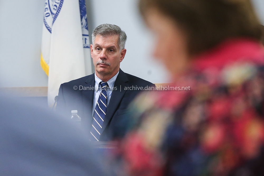 (10/2/19, MARLBOROUGH, MA) Candidate for mayor, David Garceau, makes an opening statement during the mayoral debate at the Public Schools Administration Building in Marlborough on Wednesday. [Daily News and Wicked Local Photo/Dan Holmes]