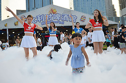 August 17, 2017 - Qingdao, Qingdao, China - Qingdao, CHINA-16th August 2017: (EDITORIAL USE ONLY. CHINA OUT) ..Children enjoy bubble carnival at the Qingdao International Beer Festival in Qingdao, east China's Shandong Province, August 16th, 2017. (Credit Image: © SIPA Asia via ZUMA Wire)