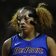 Chanise Jenkins, DePaul, in action wearing a protective  face mask during the UConn Vs DePaul, NCAA Women's College basketball game at Webster Bank Arena, Bridgeport, Connecticut, USA. 19th December 2014